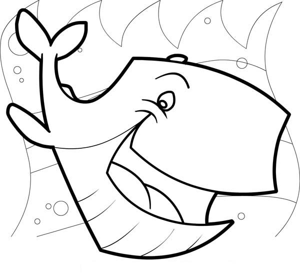 600x547 Laughing Whale Sea Animals Coloring Page