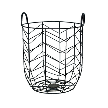350x350 Decorative Black Color Metal Wire Mesh Laundry Basket With Handle