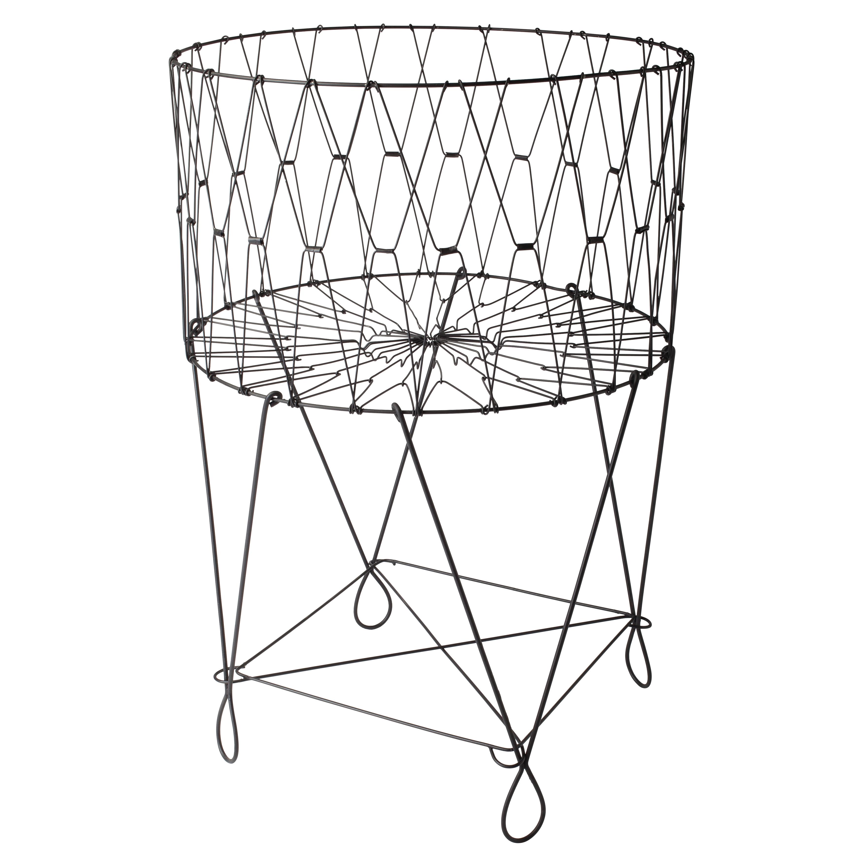 3500x3500 Large Vintage Black Wire Laundry Basket Hamper