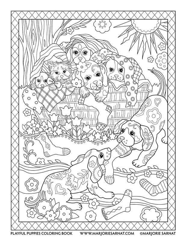 618x800 Laundry Basket Playful Puppies Coloring Book By Marjorie Sarnat