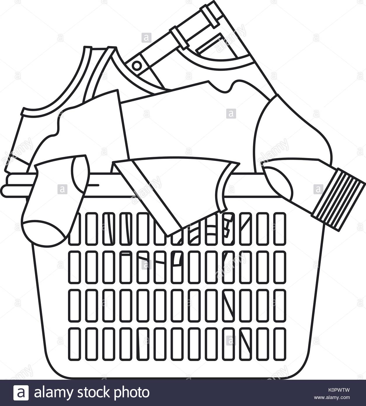 Laundry basket drawing at free for for Laundry coloring pages