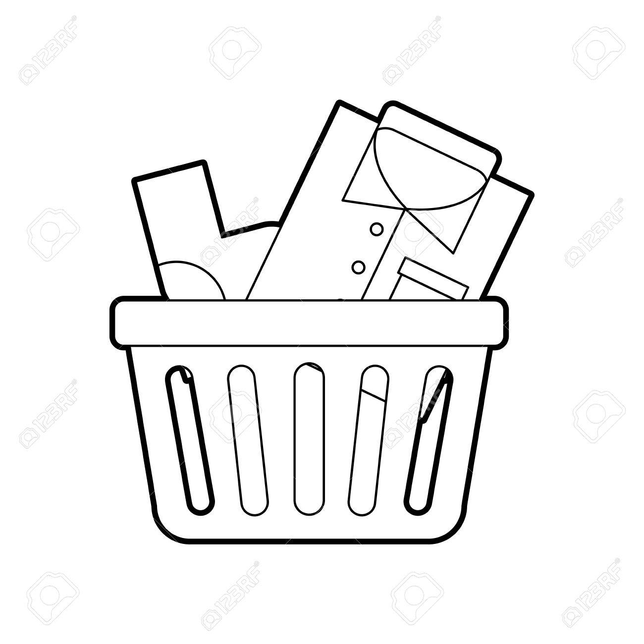 1300x1300 Laundry Basket With Clothes Vector Illustration Design Royalty