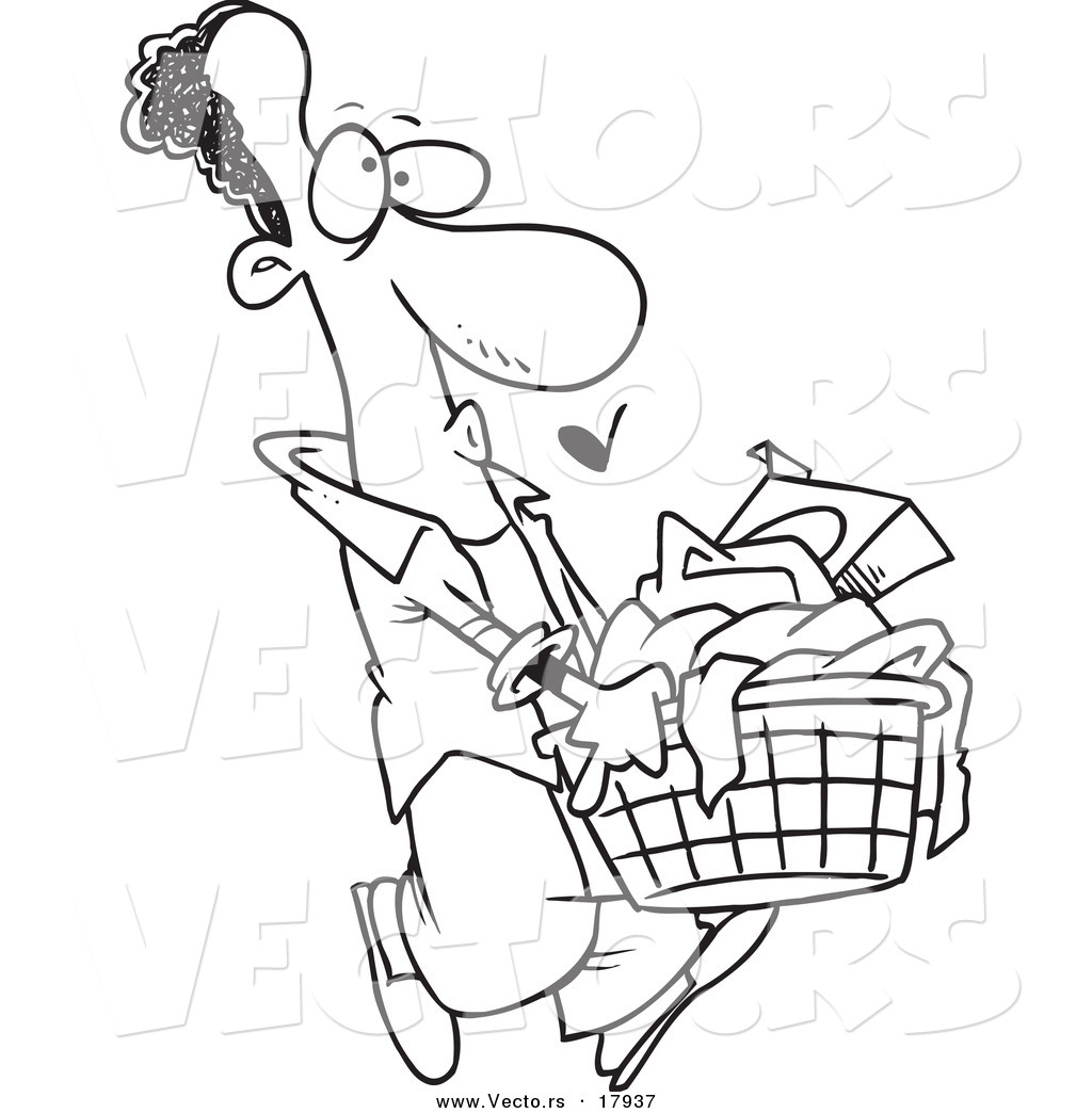 1024x1044 Vector Of A Cartoon Black Man Carrying A Laundry Basket