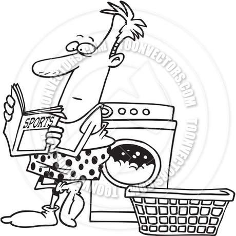 460x460 Cartoon Man Laundry (Black And White Line Art) By Ron Leishman
