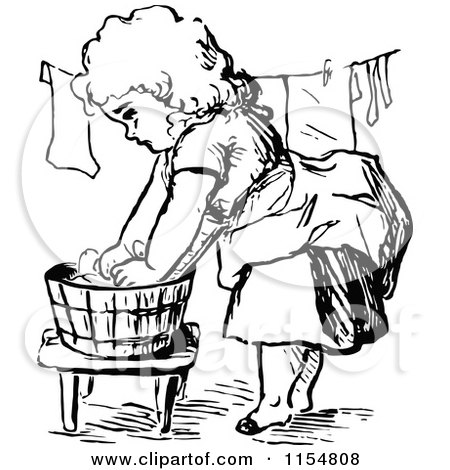 450x470 Clipart Of A Retro Vintage Black White Girl Washing