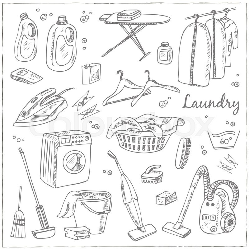 800x800 Laundry Themed Doodle Set. Various Equipment And Facilities