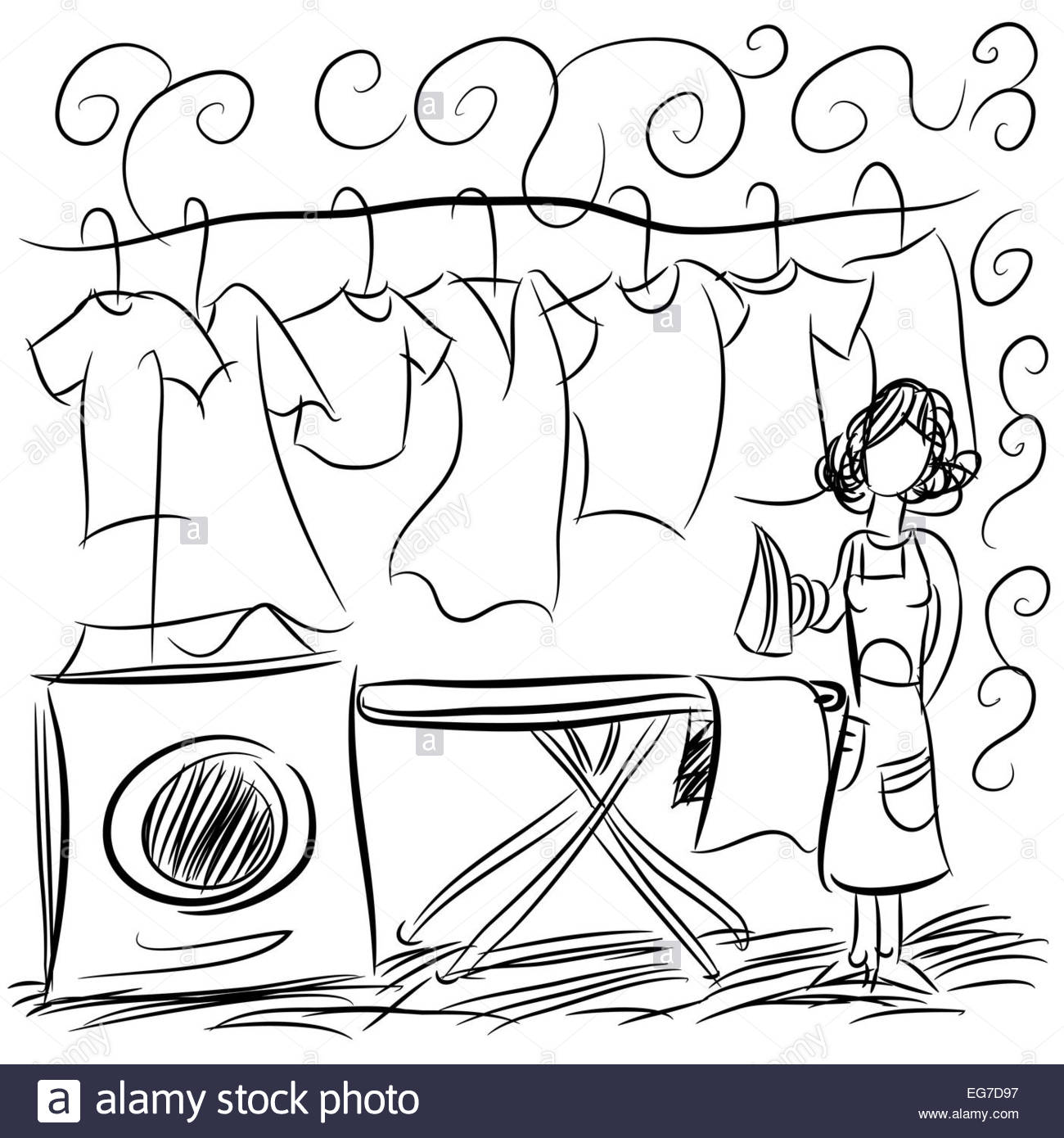 1300x1390 An Image Of A Laundry Service Drawing Stock Photo, Royalty Free
