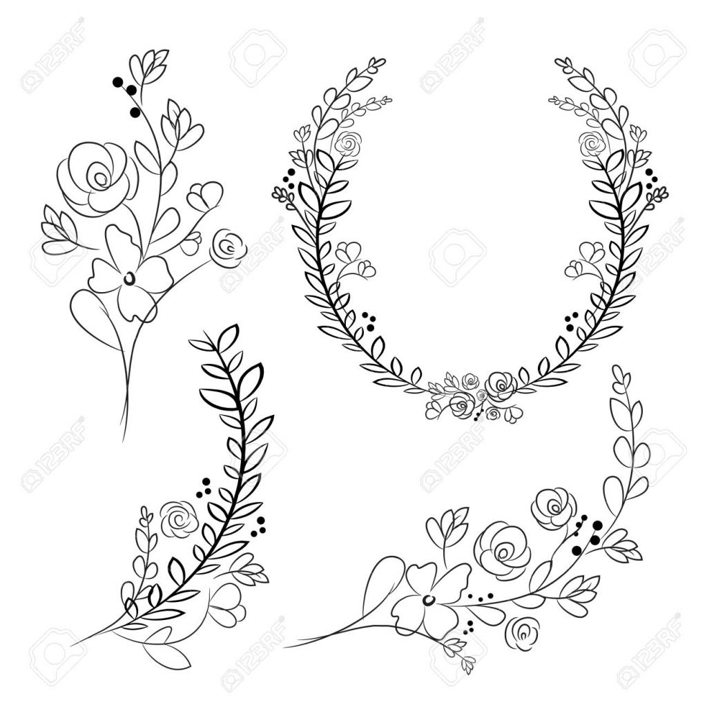 1024x1024 Hand Drawing Flower Vector Vector Wreaths And Laurel Wreaths
