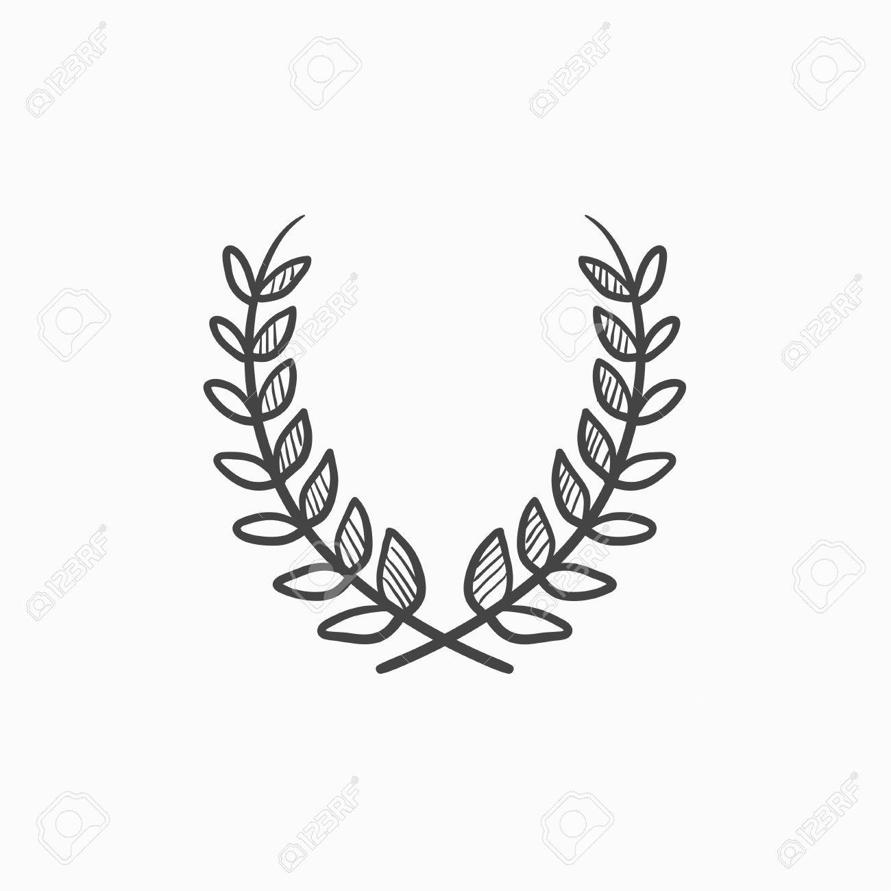 1300x1300 Laurel Wreath Vector Sketch Icon Isolated On Background. Hand