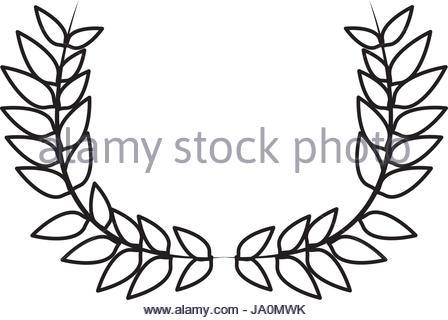448x320 Drawing Crown Half Flower Natural Decoration Laurel Leaves Stock