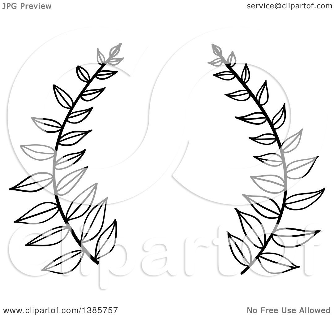 1080x1024 Clipart Of A Black And White Laurel Wreath With Leaves