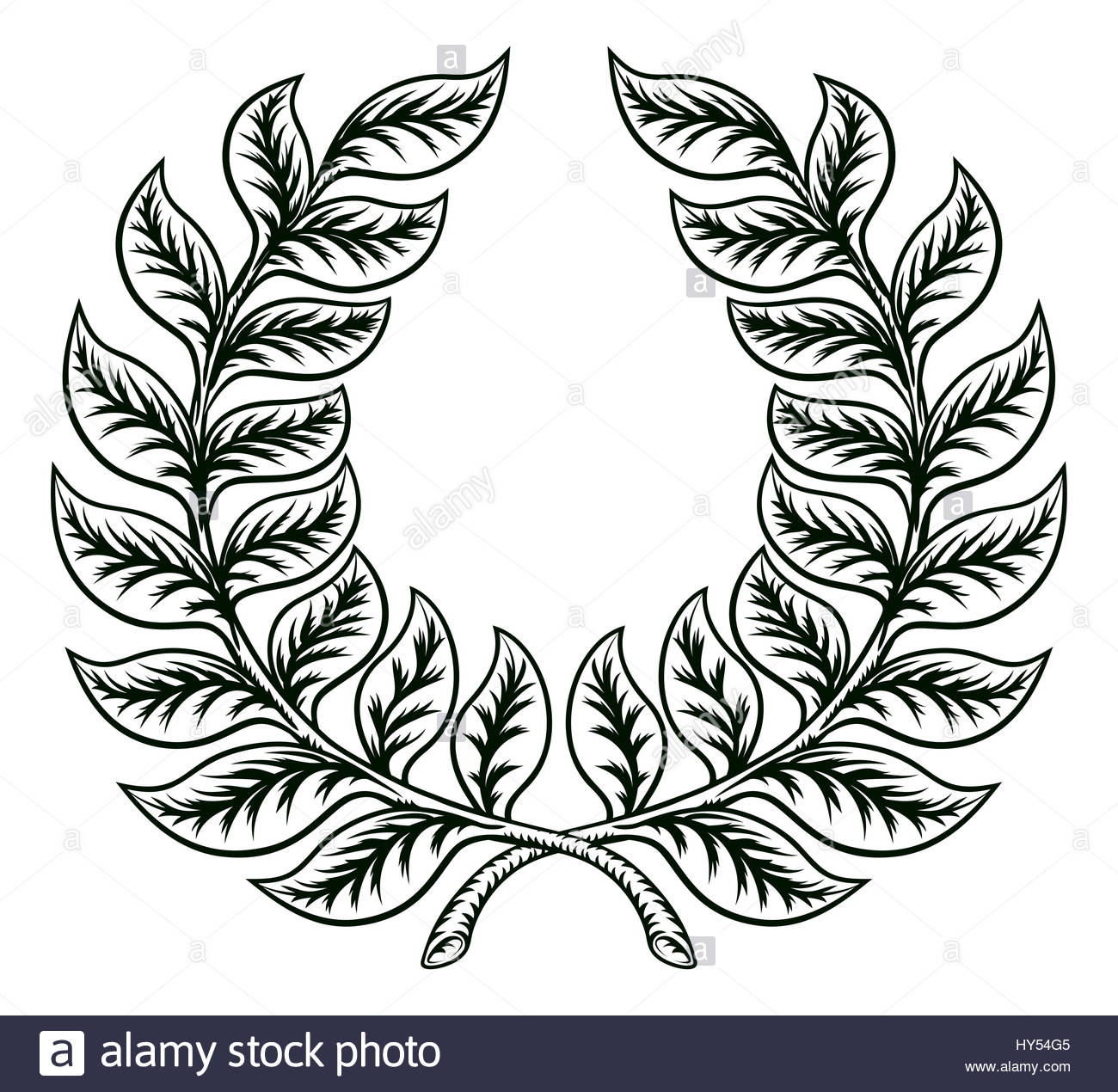 1300x1270 A Laurel Wreath Hand Drawn In A A Vintage Retro Etched Woodcut