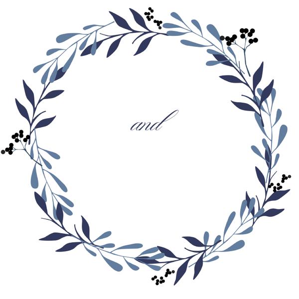 600x600 Navy Laurel Wreath Wedding Favors