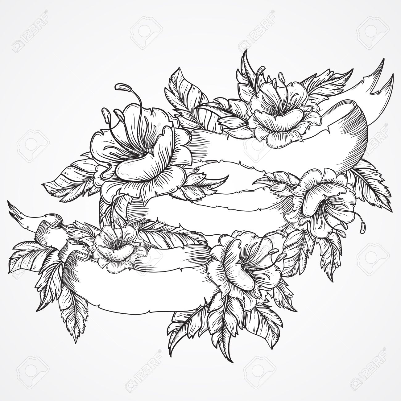 1300x1300 Vintage Floral Highly Detailed Hand Drawn Bouquet Of Flowers