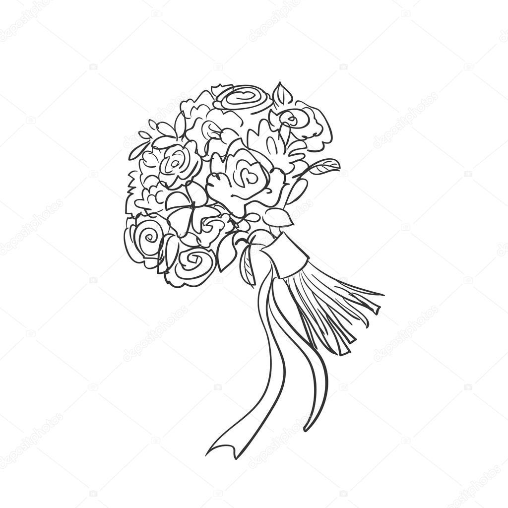 1024x1024 Doodle Bridal Bouquet Stock Vector Netkoff