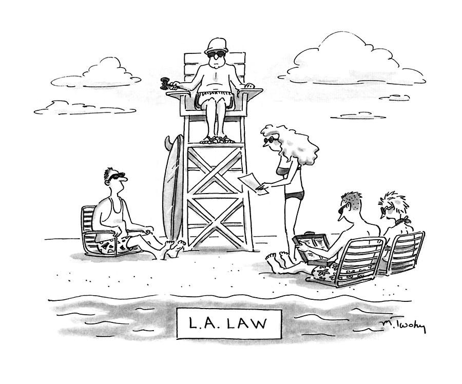 900x748 L.a. Law Drawing By Mike Twohy