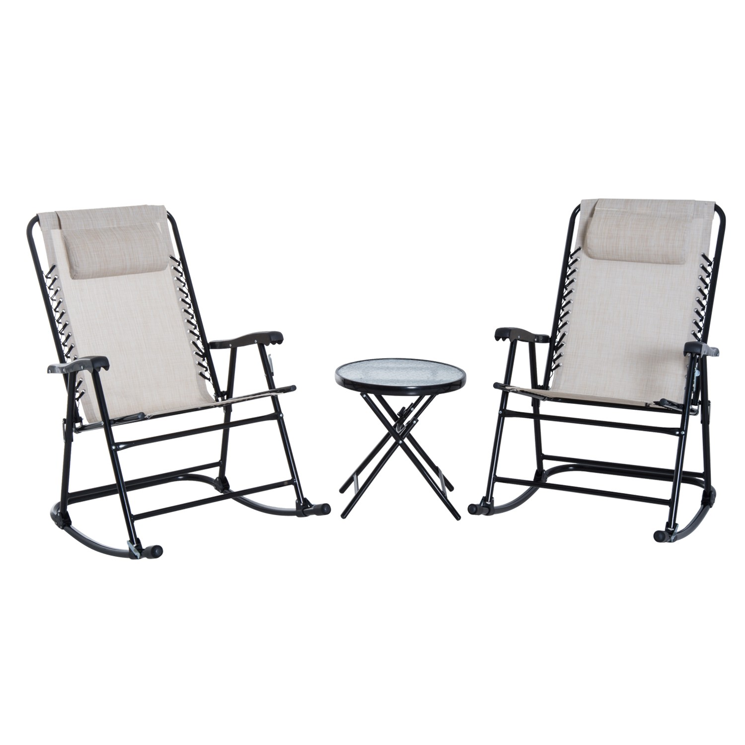 1500x1500 Outsunny Rocker Set Bistro Patio Foldable Glider Side Table Chair