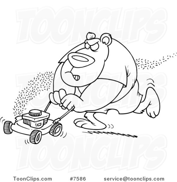 581x600 Cartoon Black And White Line Drawing Of A Bear Mowing His Lawn