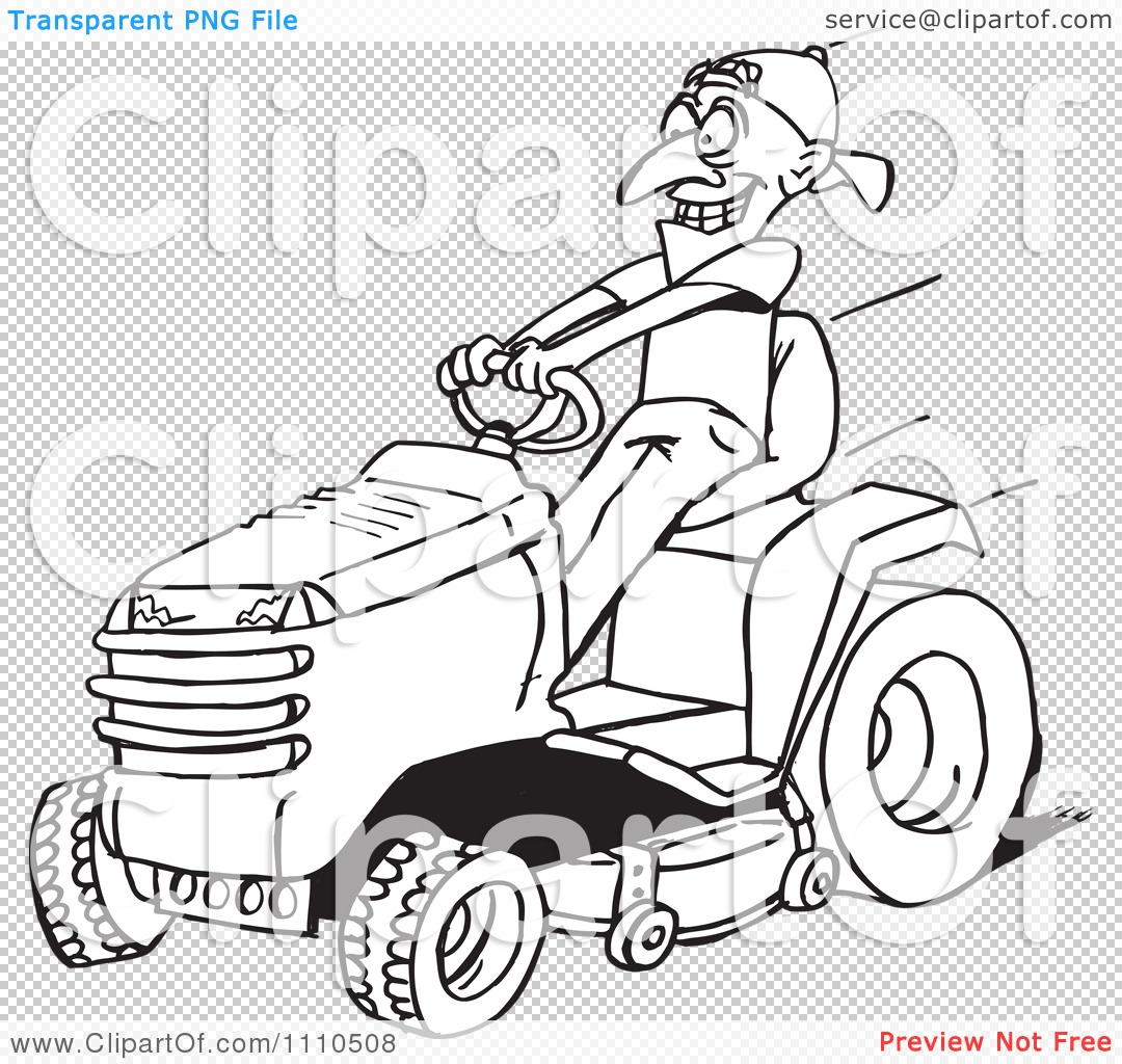 1080x1024 Clipart Black And White Man On A Riding Lawn Mower
