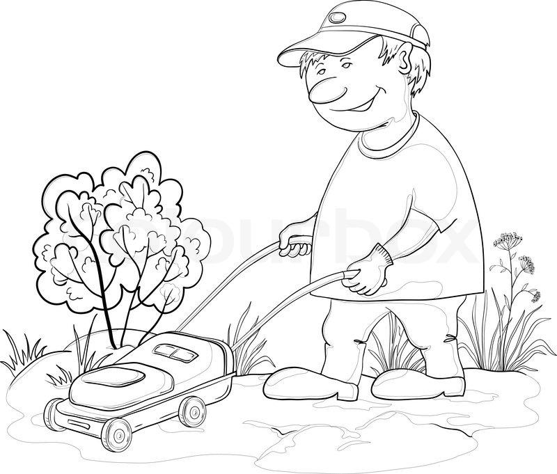800x681 Lawn Mower Man, Outline Stock Vector Colourbox