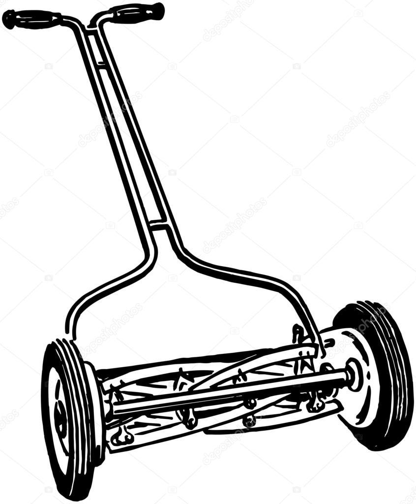 846x1024 Manual Lawn Mower Stock Vector Retroclipart