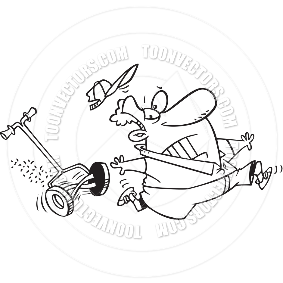 Lawn Mower Drawing At Free For Personal Use Craftsman Riding Wiring Diagram 940x940 Cartoon Man Chased By A Black And White Line Art