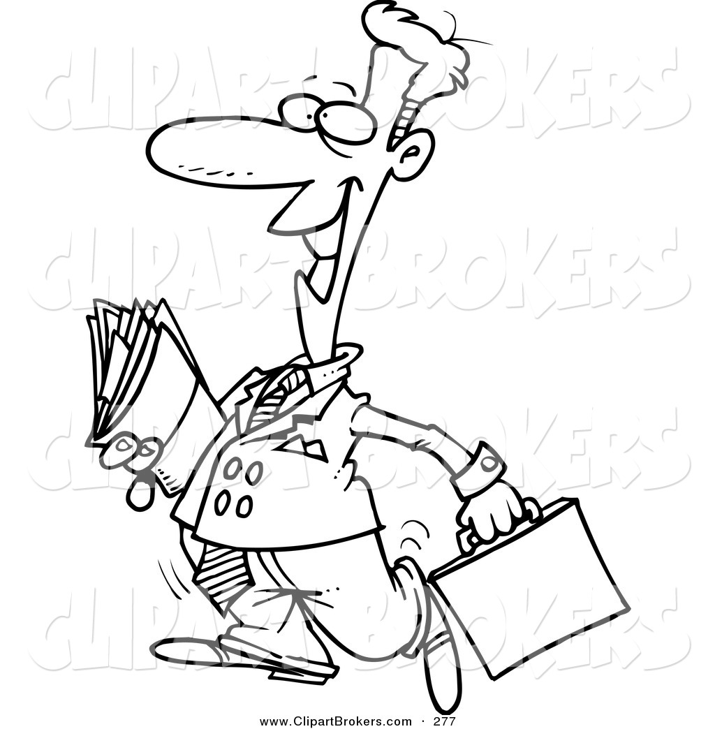1024x1044 Clip Art Cartoon Of A Coloring Page Of A Lawyer Carrying Files By