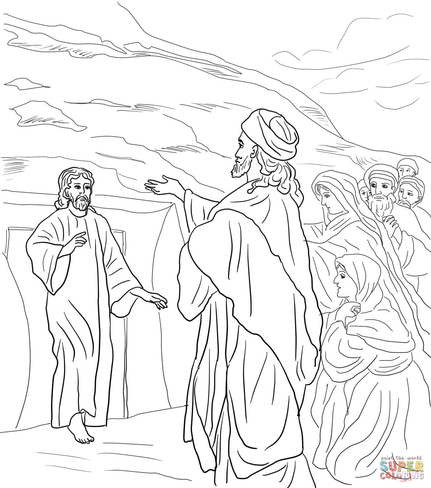 1414x1600 Jesus Raises Lazarus From The Dead Coloring Page Free Printable