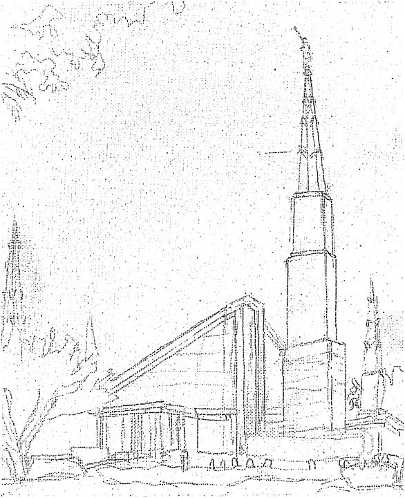 586x720 Dallas Texas Lds Temple Sketch