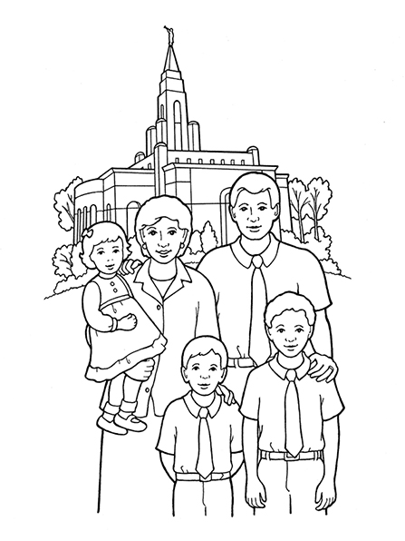447x596 An Illustration Of A Family Standing In Front Of A Temple. Faith