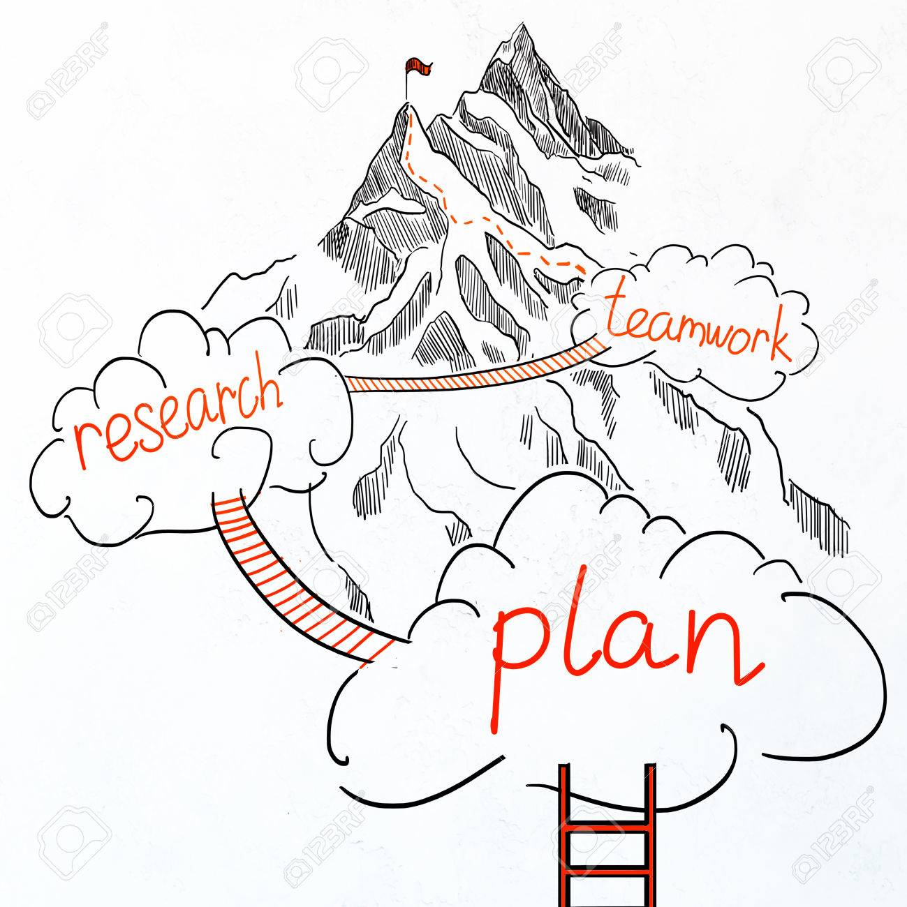 1299x1300 Drawn Ladder, Clouds And Road To Mountain Top On White Background