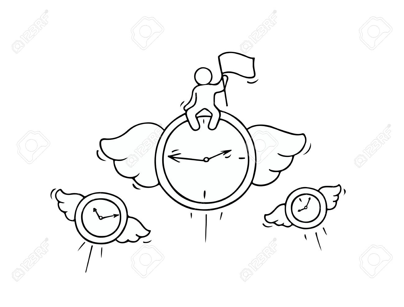 1300x988 Sketch Of Flying Clocks With Little Worker. Doodle Cute Miniature