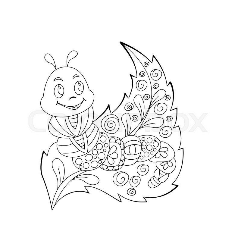 800x800 Cute Cartoon Caterpillar With Ornament On Leaf. Background, Cover