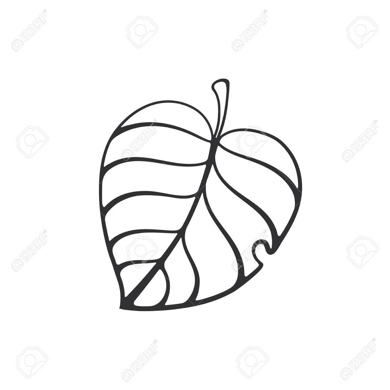 1300x1300 Vector Illustration. Cartoon Sketch Of Tree Leaf. Ecology