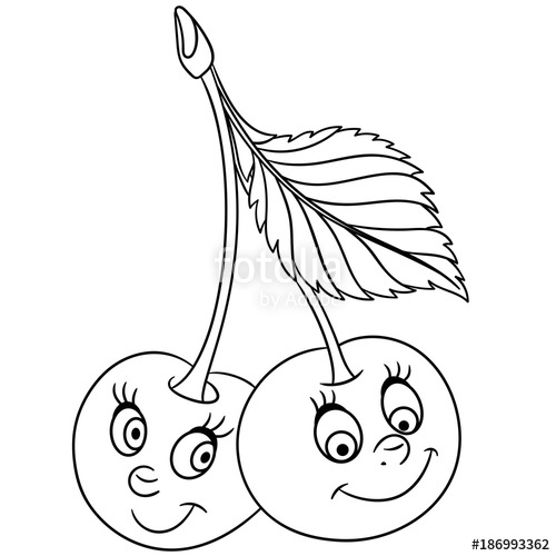 500x500 Coloring Book. Coloring Page. Cartoon Cherry Twins Character