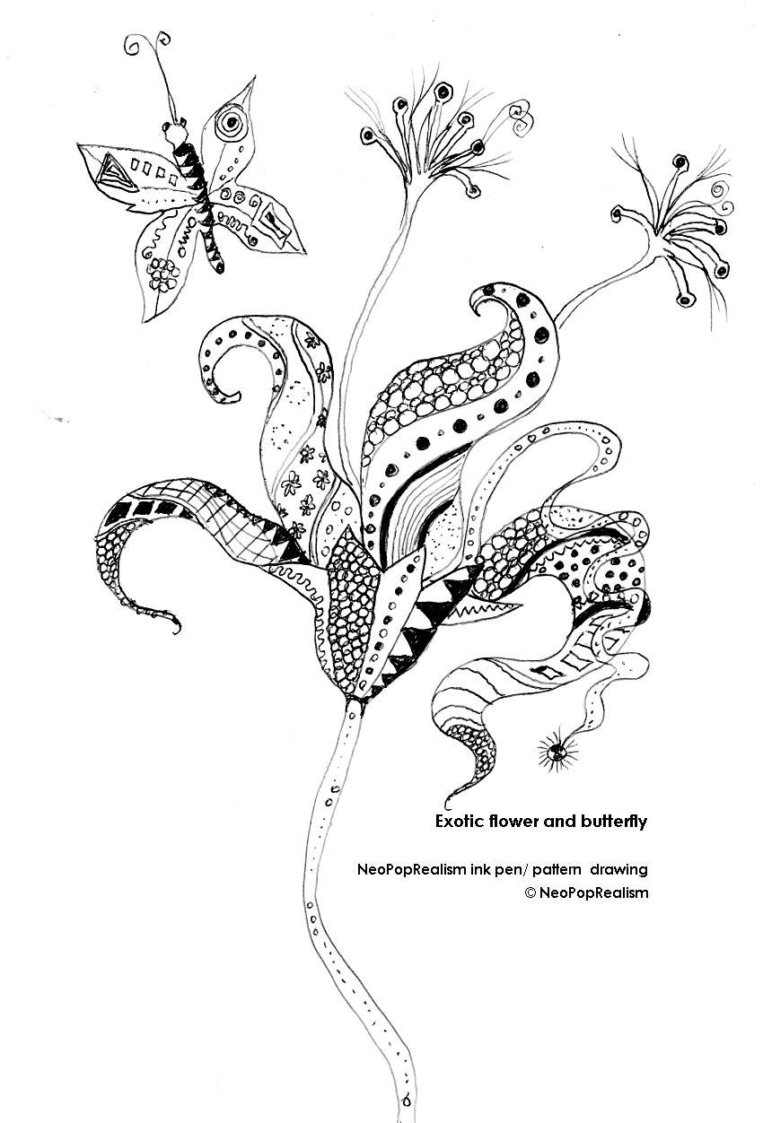 850x1252 Nature Exotic Flower And Butterfly. Neopoprealism Ink Pen