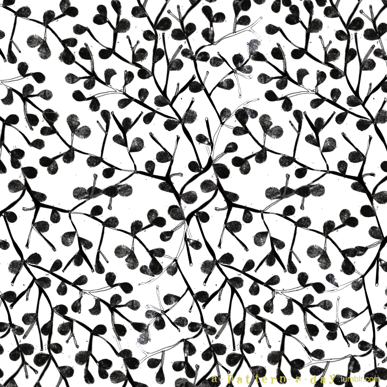 1280x1280 Black And White Organic Leaf Repeat Pattern Textile + Pattern