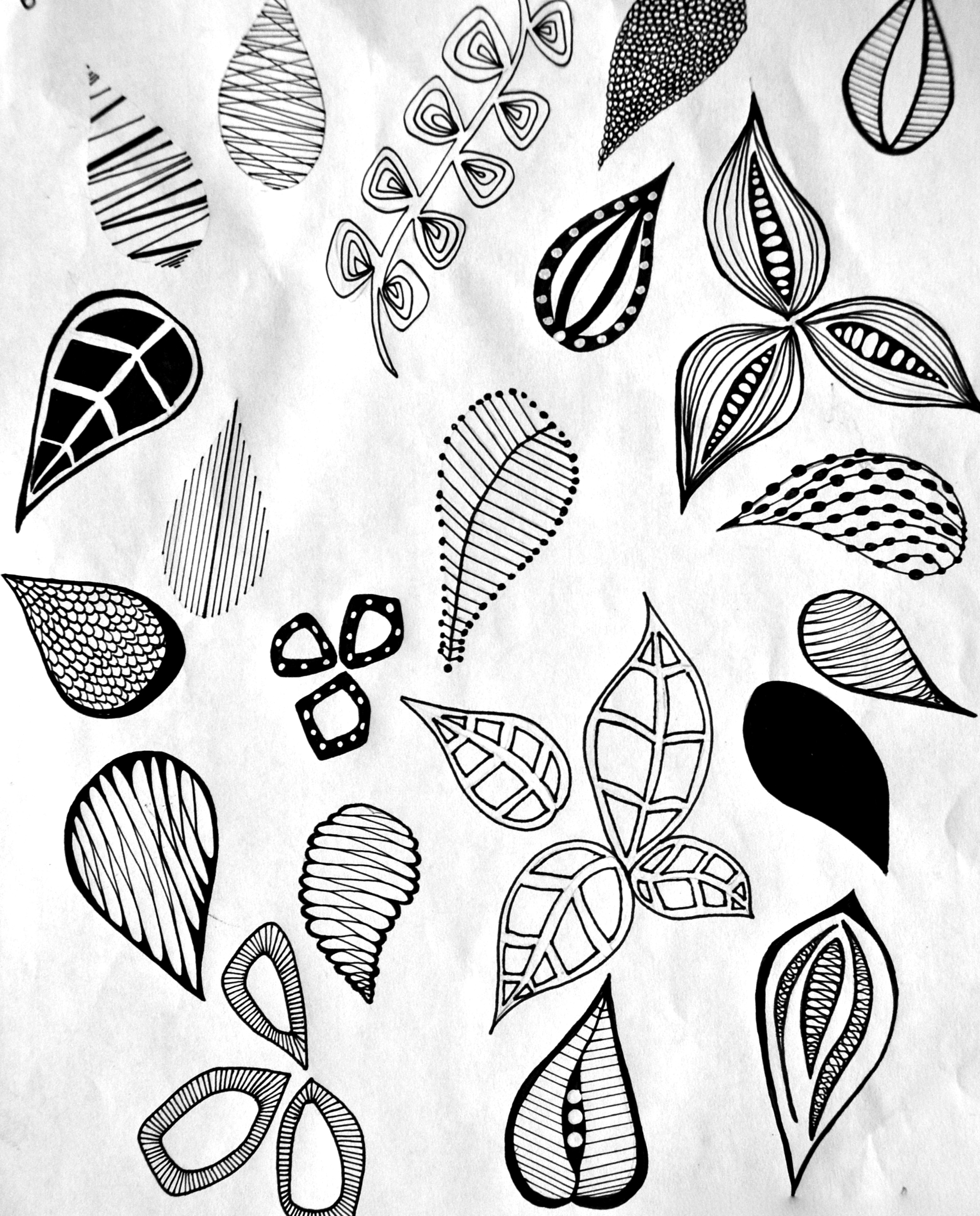 2200x2730 Hand Drawn Leaf Motif Leaves For Art Projects Hand