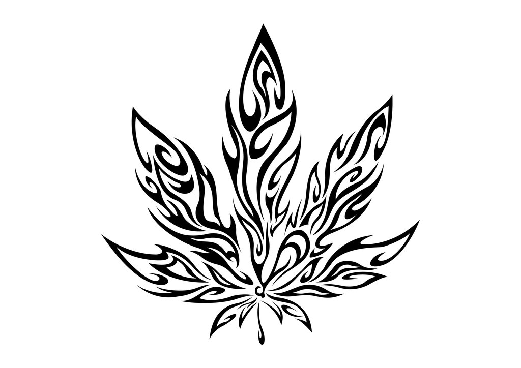 1024x724 Drawn Cannabis Leaf Stencil