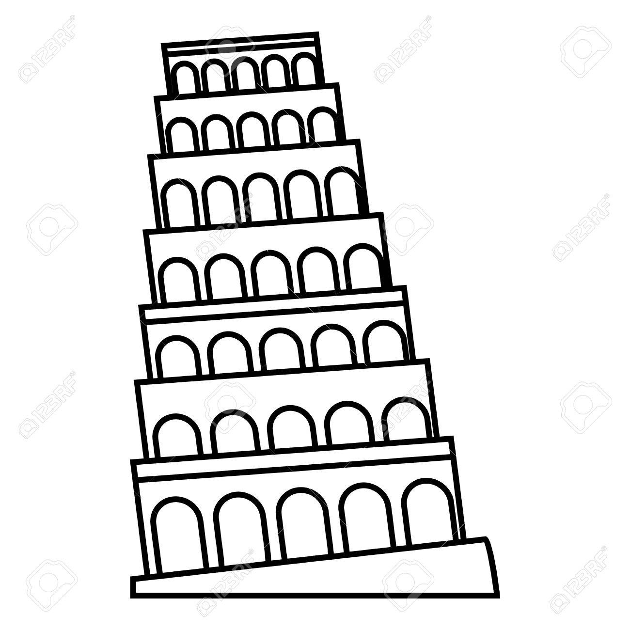 1300x1300 Leaning Tower Of Pisa Icon. Outline Illustration Of Leaning Tower