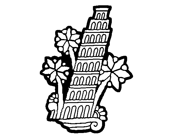 600x470 Leaning Tower Of Pisa Coloring Page