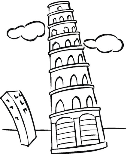 423x512 Tower Pisa Coloring Page