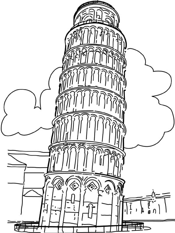 600x800 Worldwonders Leaning Tower Of Pisa Coloring Pages Batch Coloring