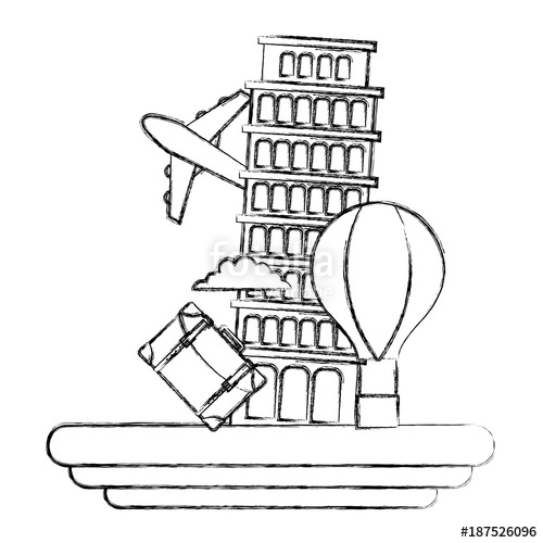 500x500 Figure Leaning Tower Of Pisa Journey Vacation Stock Image