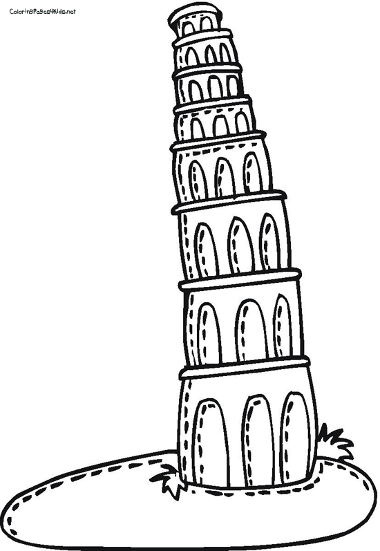 550x797 Cartoon Leaning Tower Of Pisa Leaning Tower Of Pisa Coloring