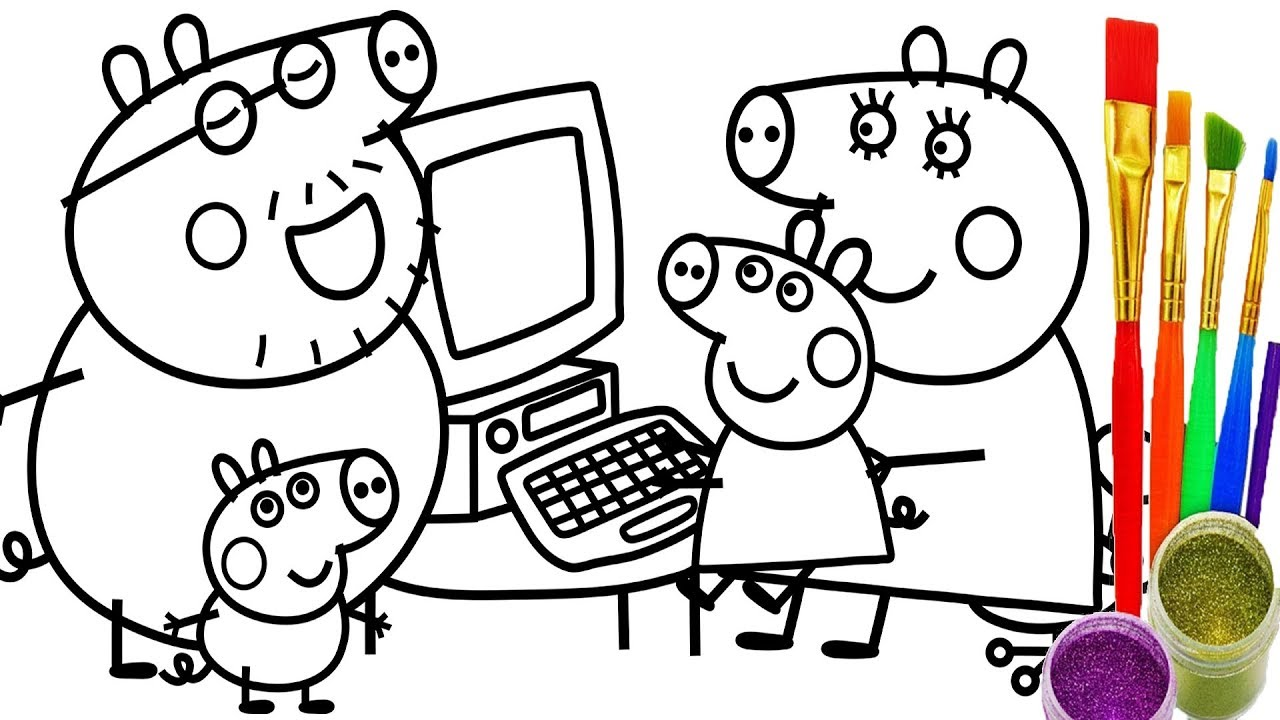 1280x720 How To Draw Peppa Pig Family Computer Coloring Pages Kid Drawing