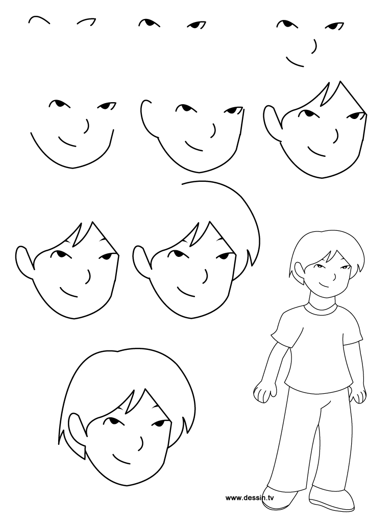 768x1024 Art Step By Step Drawing Jpeg, Learn How To Draw A Boy With Simple