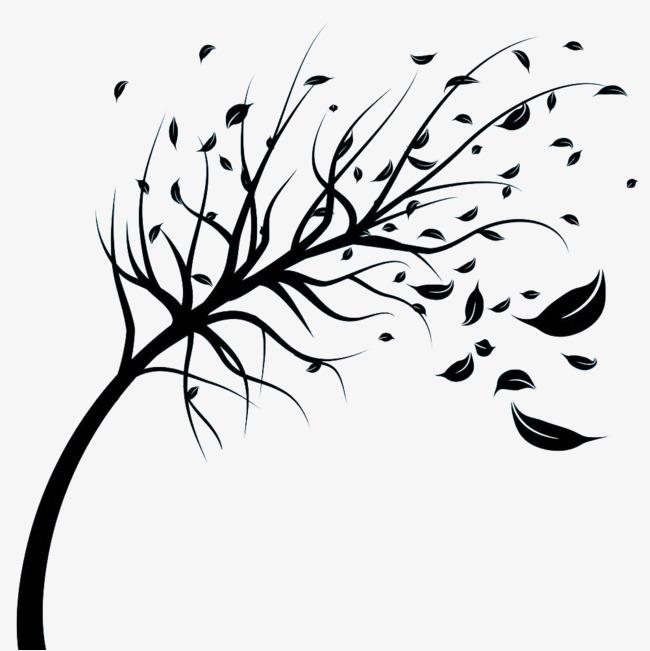650x651 Black Wind Blowing Leaves Silhouette, Wind, Wind Effect