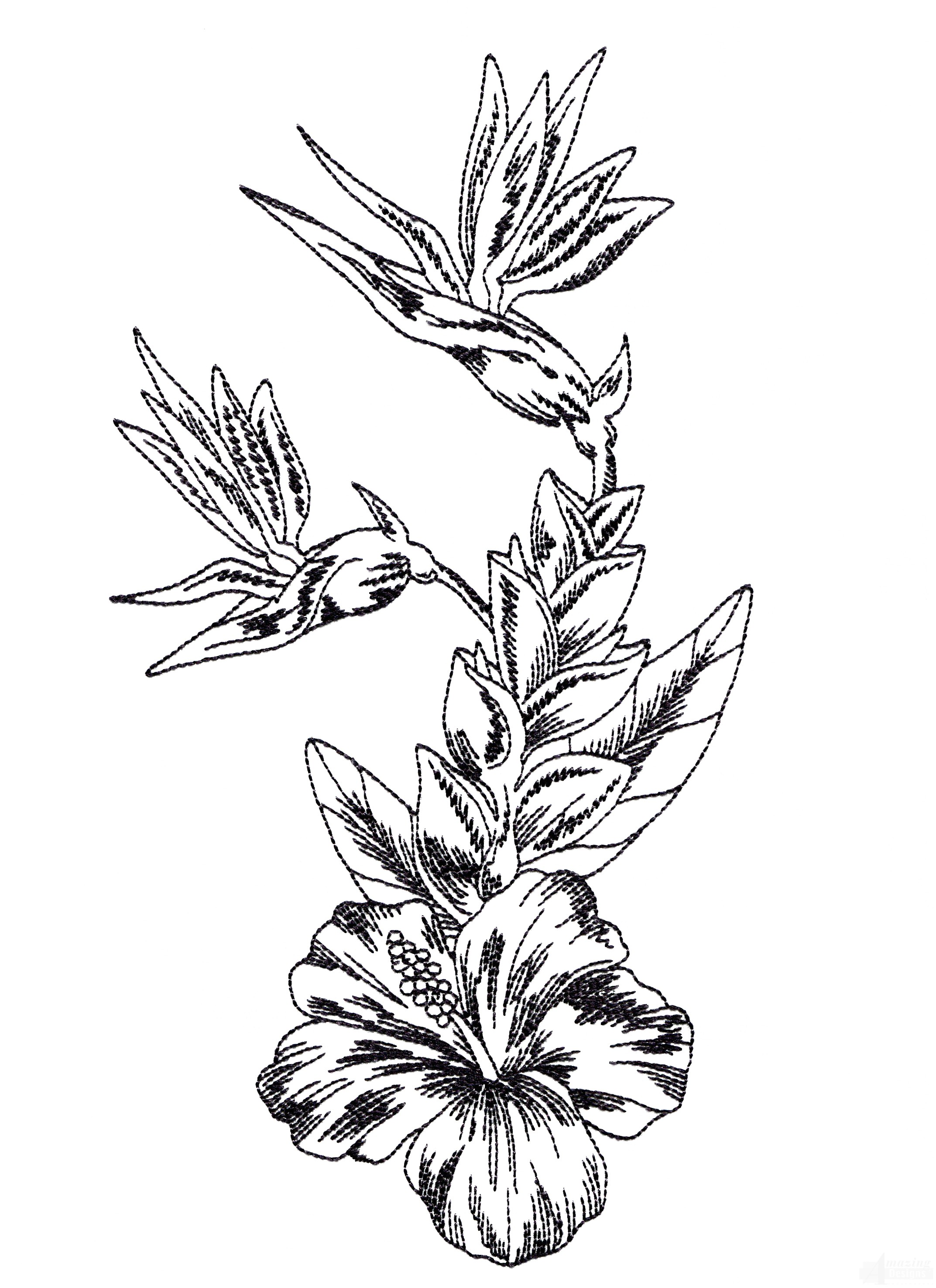 2145x2954 Tropical Floral Sketch Embroidery Design