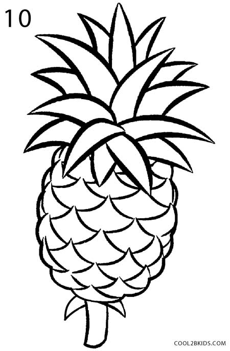 450x687 How To Draw A Pineapple (Step By Step Pictures) Cool2bkids